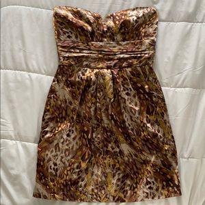 Satin strapless bronze gold sweetheart dress